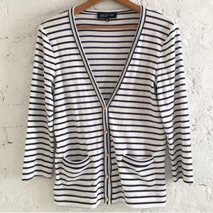 Jones New York nautical striped navy cardigan